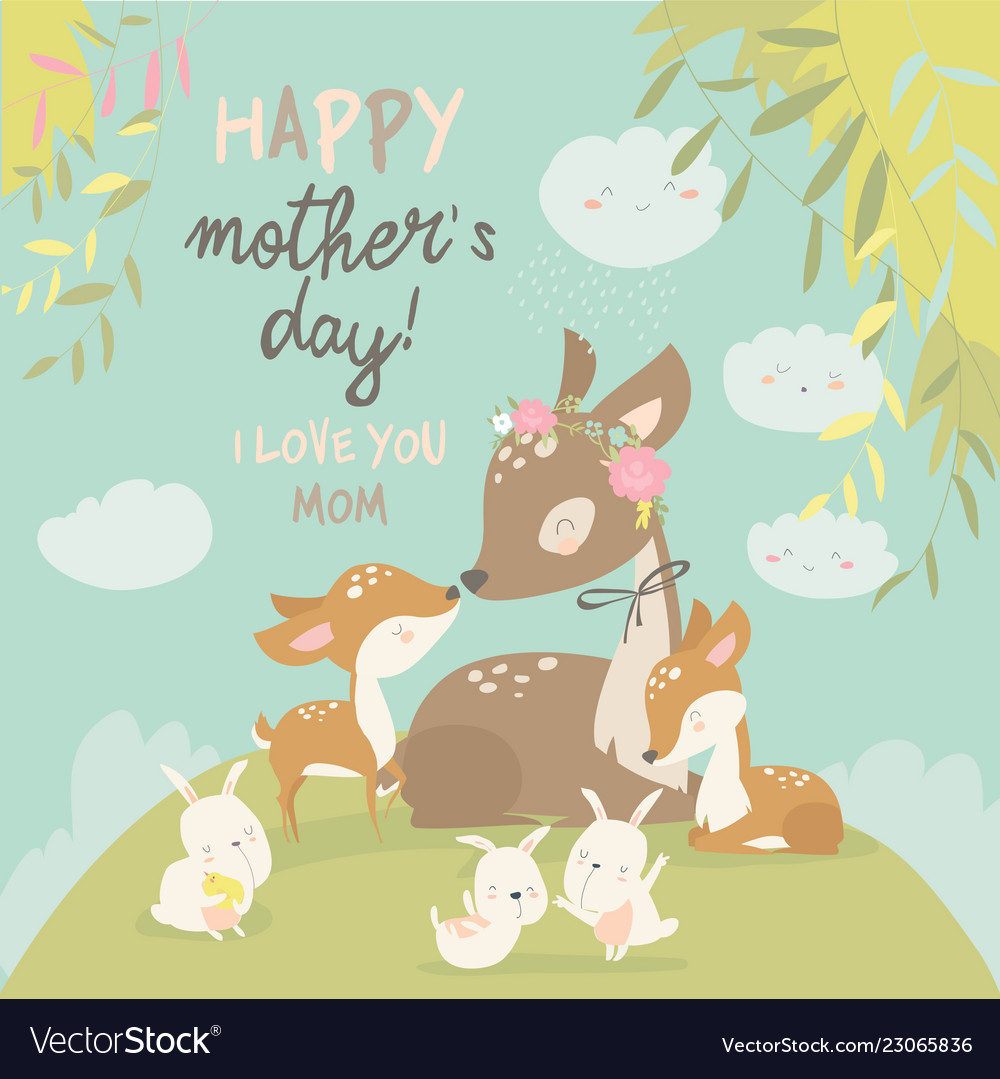 Cartoon deer family mother and baby cute animals.