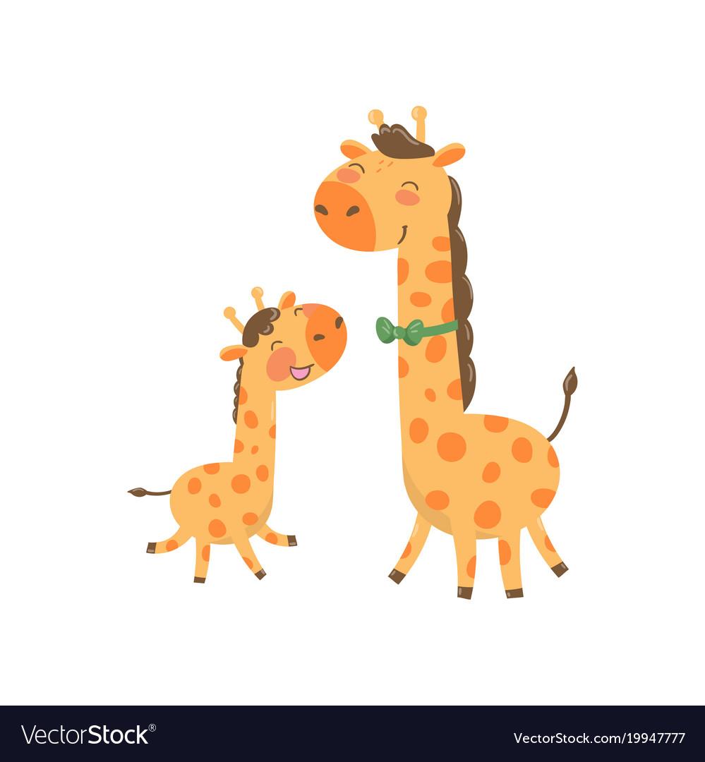 Cartoon animal family portrait father giraffe.