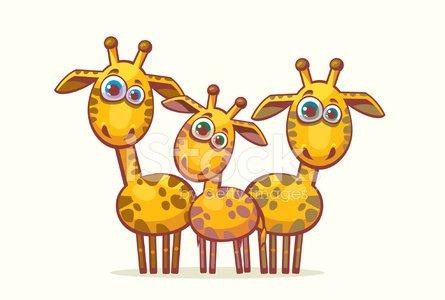 Cartoon giraffes. Animal family. Clipart Image.