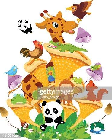 Animals Family on The Funny Cartoon and Vector Scene Stock.