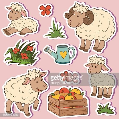 Farm animals set, vector stickers with sheep family Clipart.