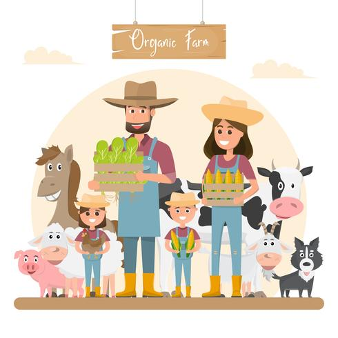farmer family cartoon character with animals in organic.