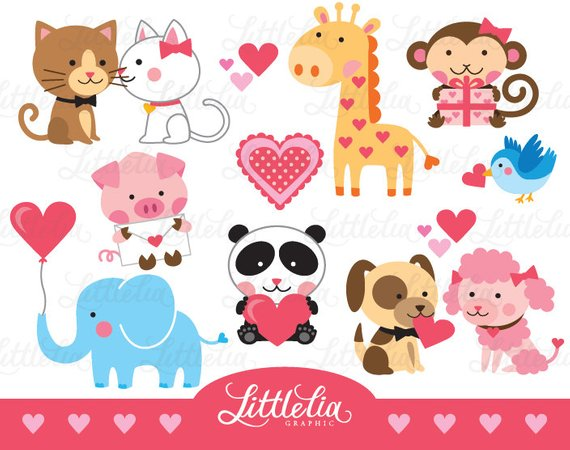 Animal love clipart.
