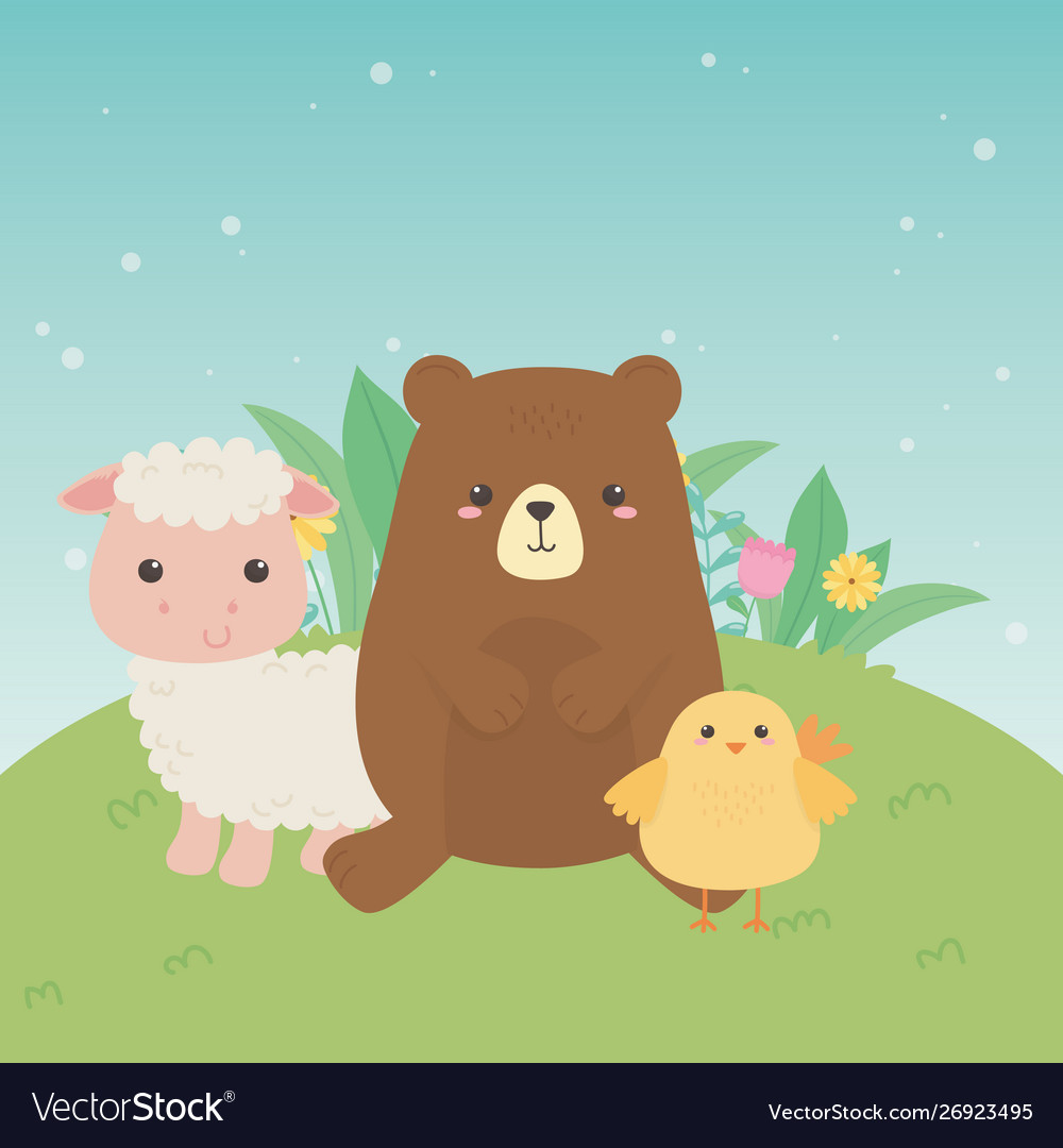 Cute bear and sheep and chick animals farm.