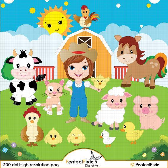Farm Animals clipart, Farmyard animals, Barn, Sheep, Cow.