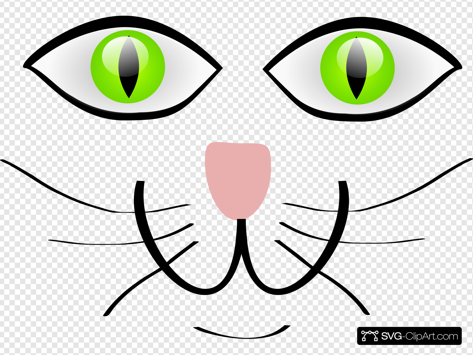 Cat Face Features Clip art, Icon and SVG.