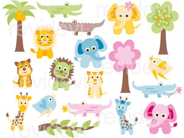 Cute baby animals clip art.