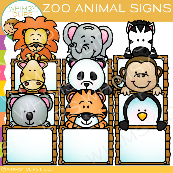 Zoo Animal Signs Clip Art.