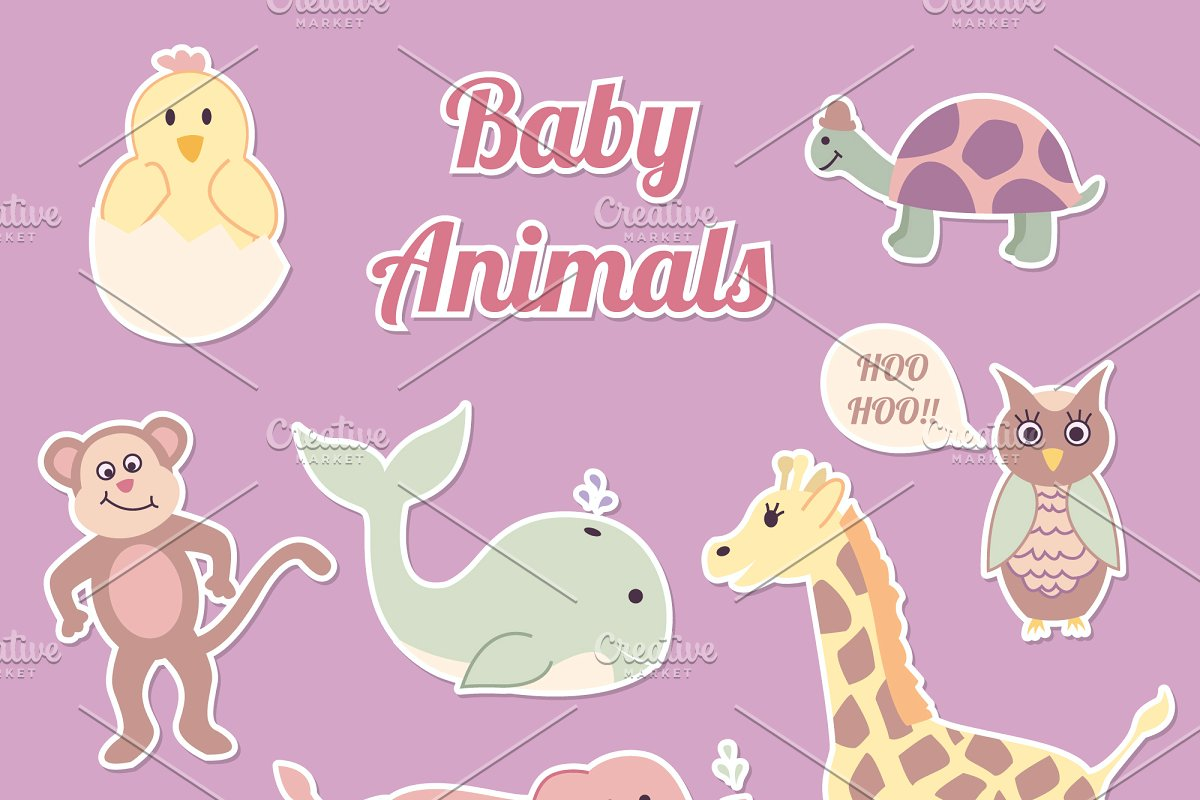 Baby Animal Vector Clip Art Set.