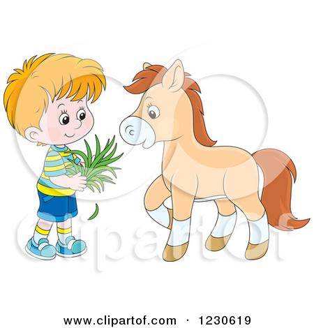Clipart of a Happy White Boy Feeding a Horse Hay.