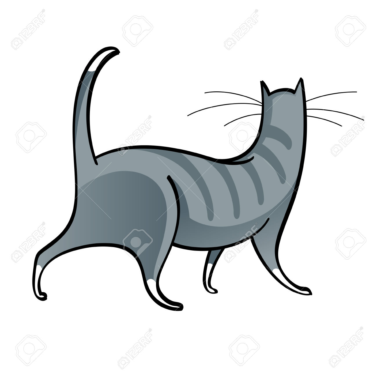 Walking Striped Grey Domestic Cat Animal Feline Royalty Free.
