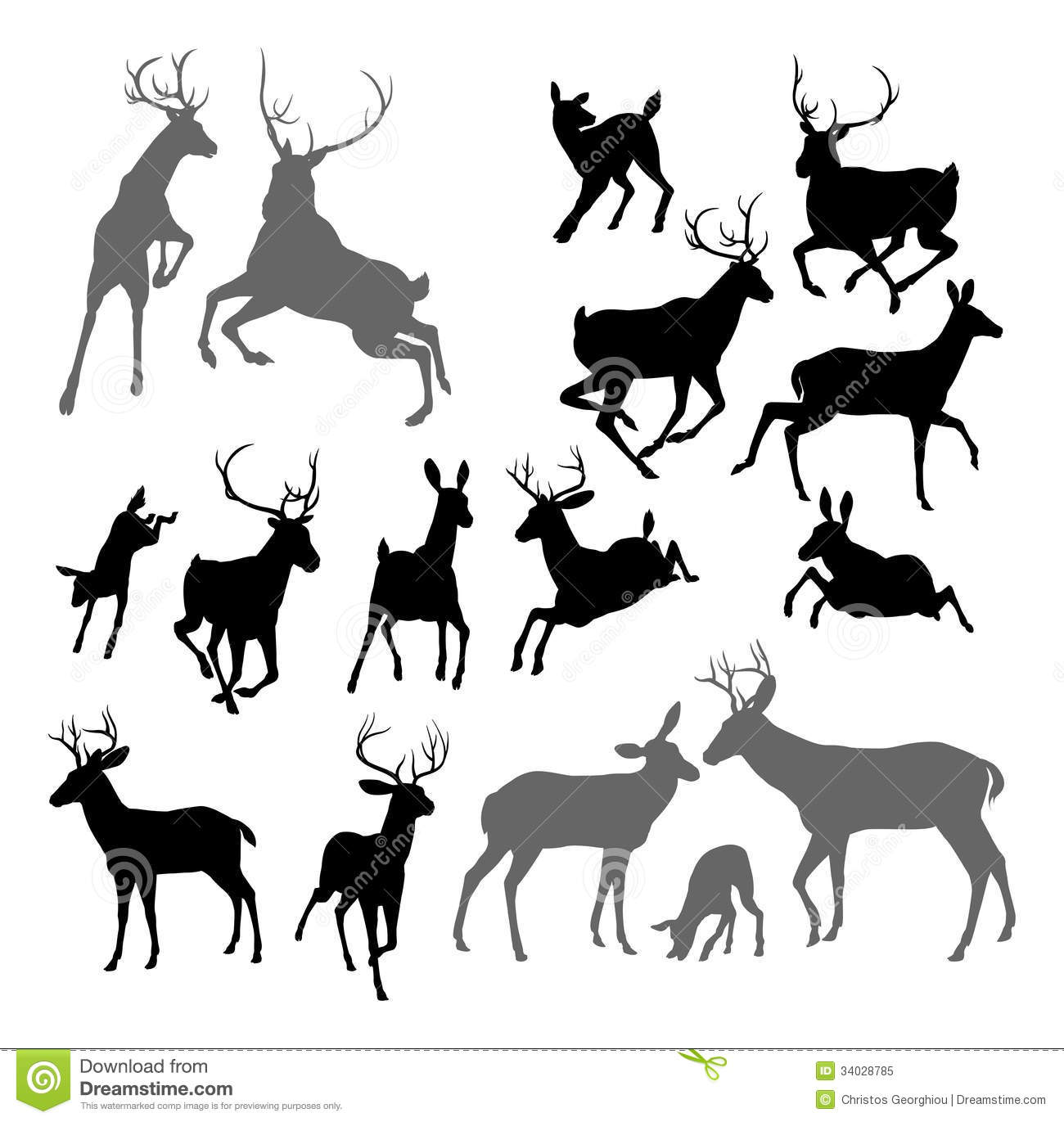Deer Animal Silhouettes Royalty Free Stock Photo.