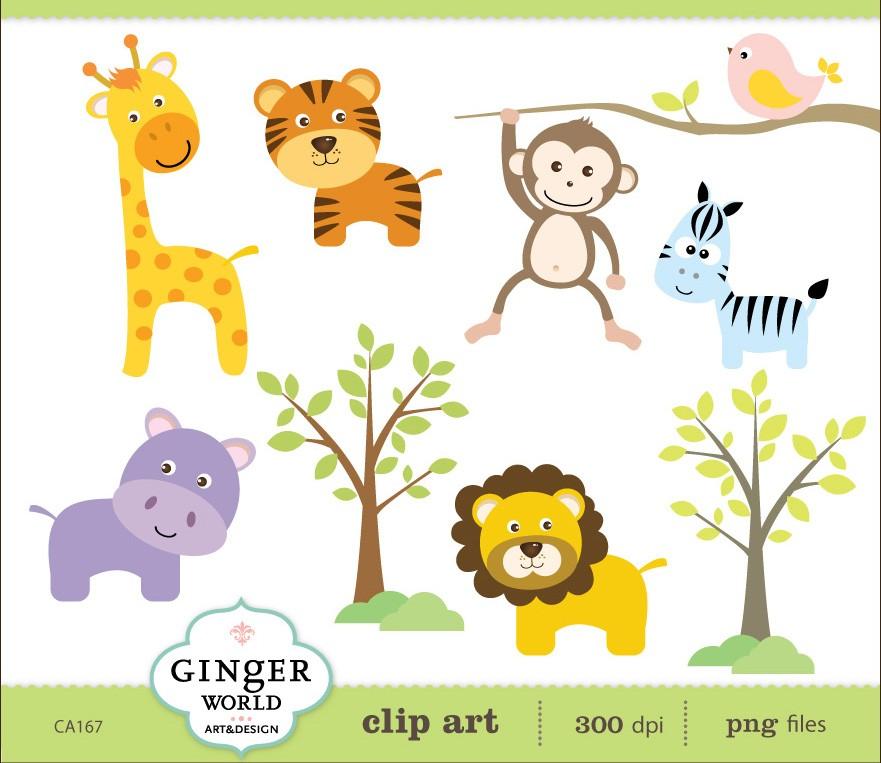 Safari baby animal clip art.