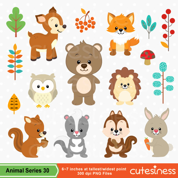 Woodland Clipart Woodland Clip art Woodland Animal Clipart.
