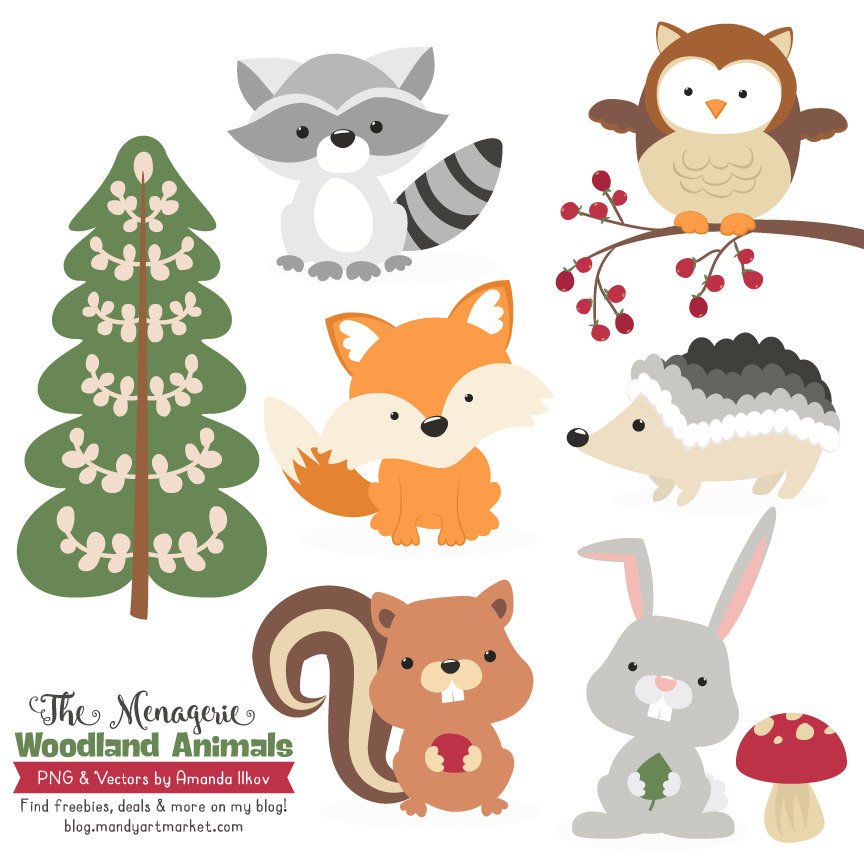 Premium Woodland Animals Clip Art & Vectors by AmandaIlkov.