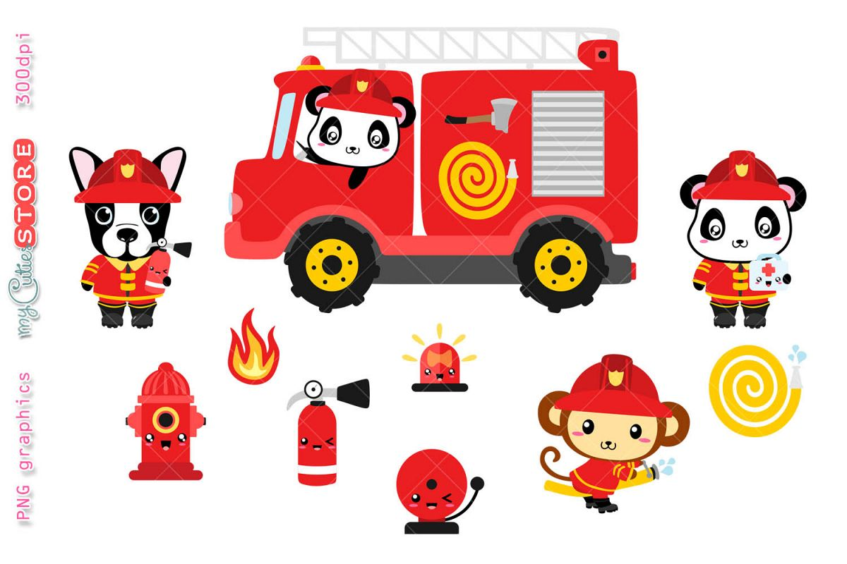 Brave firefighter animals clipart set, kawaii cliparts.