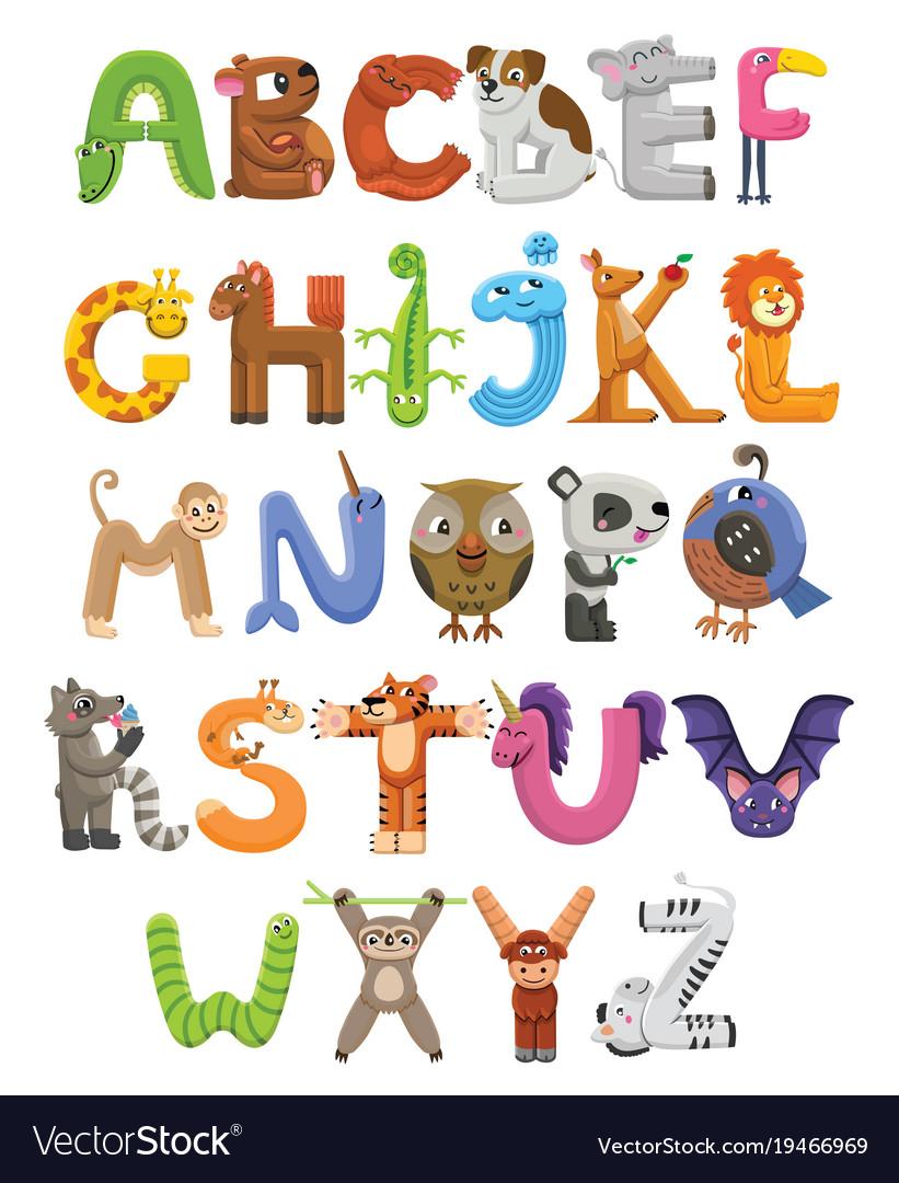 animal alphabet letters.