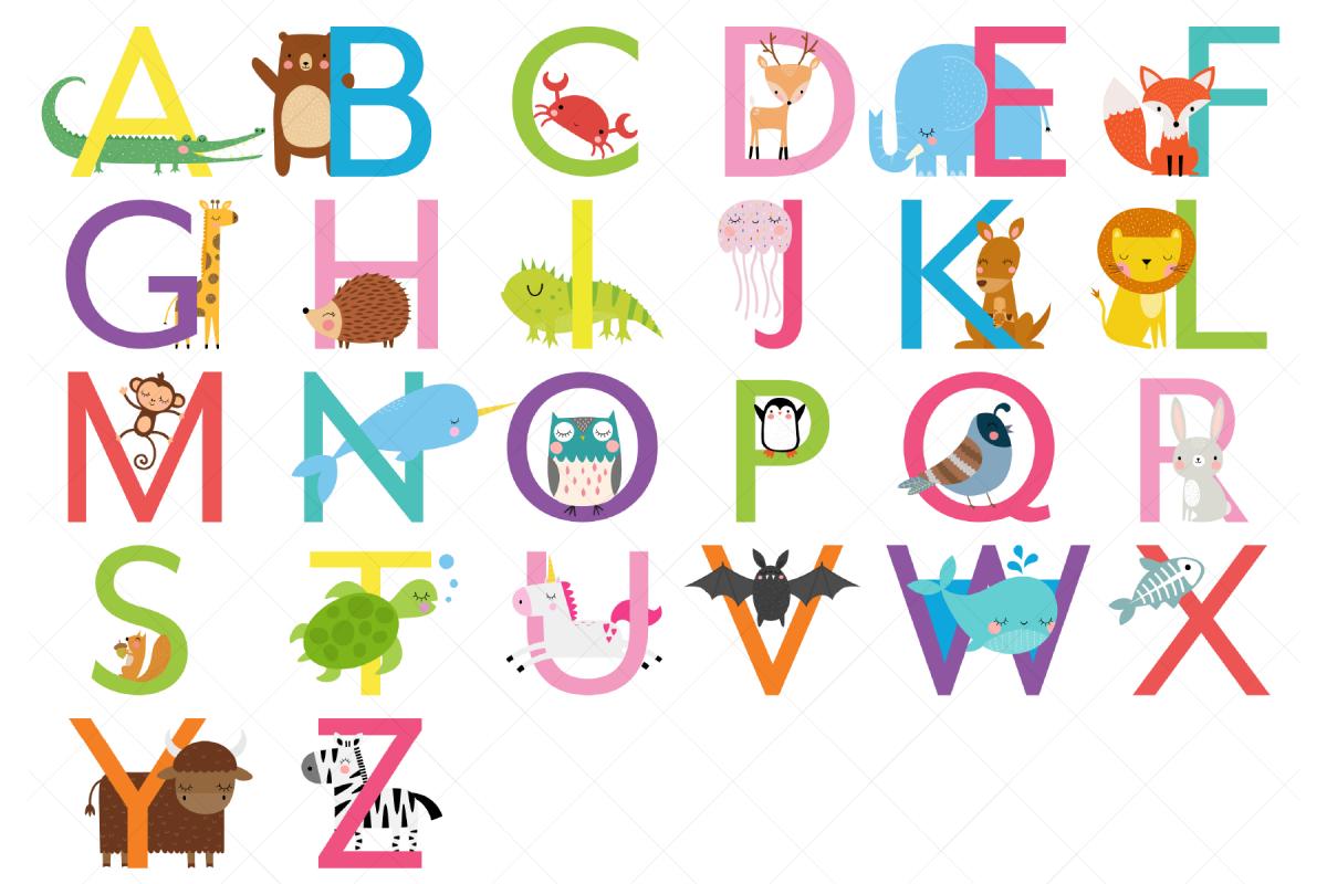 Animal Alphabet Clipart, Uppercase Letters.