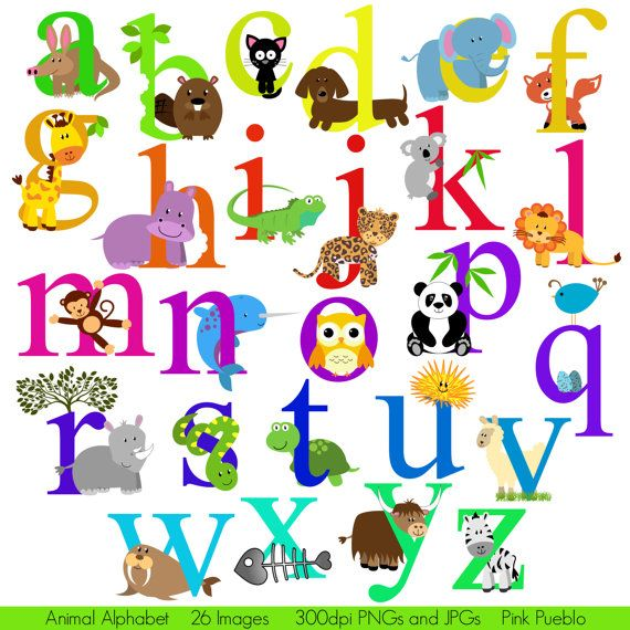 Animal Alphabet, Font with Safari Jungle Zoo Animals.