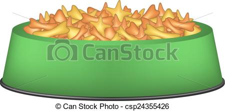 Vector Illustration of Animal food in green bowl on white.