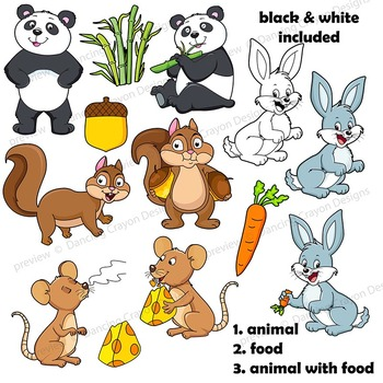 Animals And Their Food Clipart.