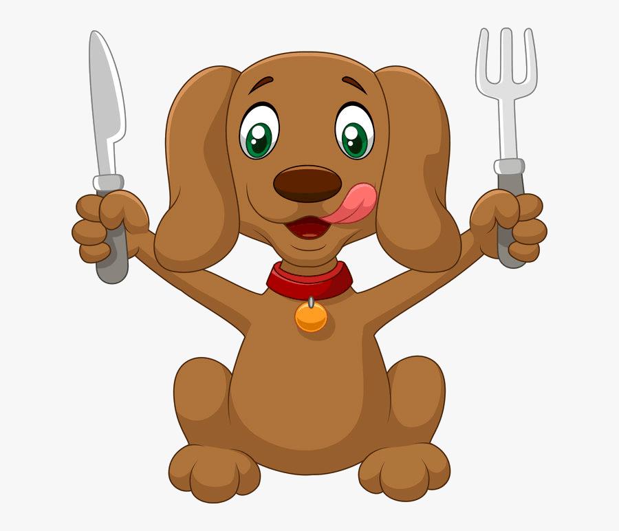Dog Eating Food Cartoon , Free Transparent Clipart.