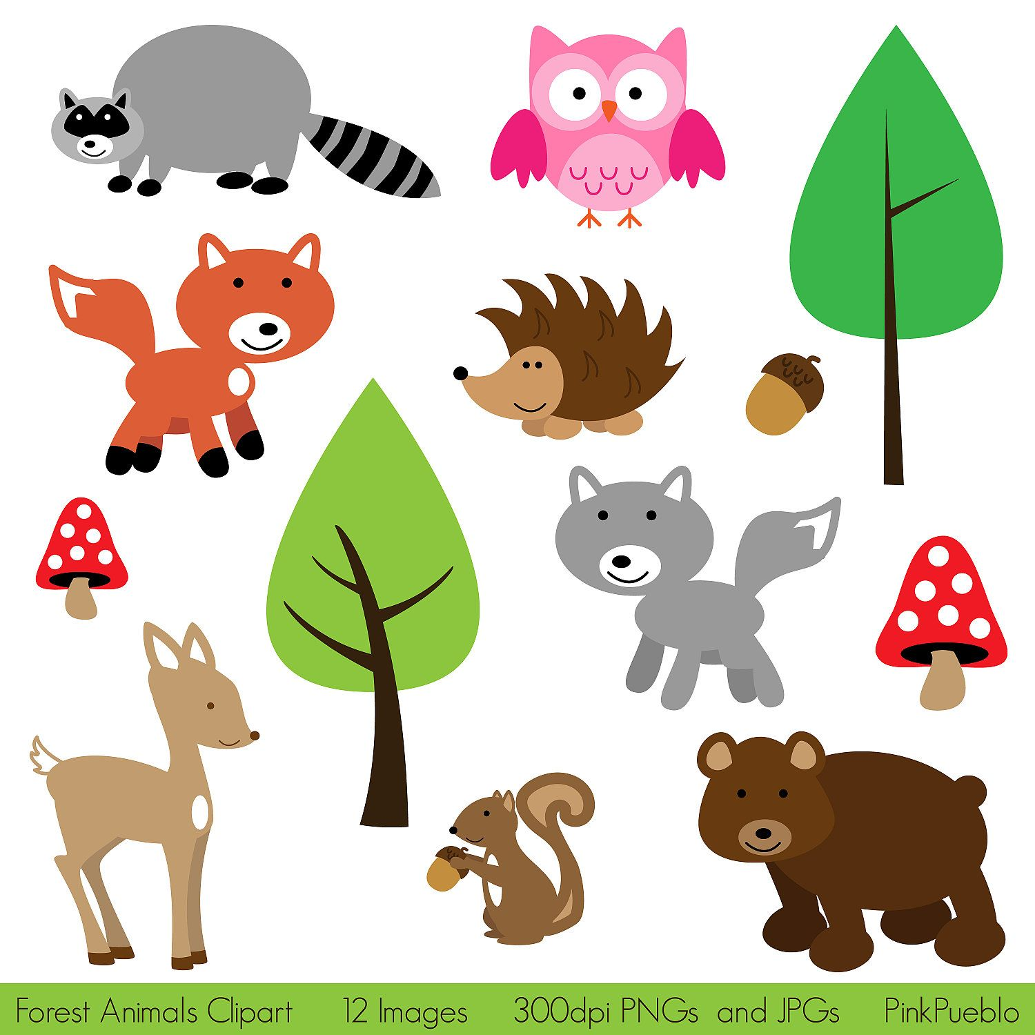 Forest Animal Clip Art, Forest Animals Clipart, Woodland.