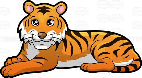 A beautiful tiger lying down : An animal with orange and.