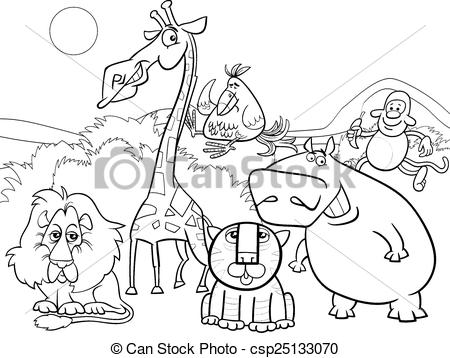 Vectors Illustration of wild animals group coloring page.