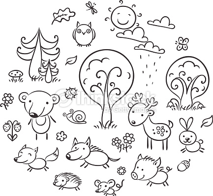 Cartoon Forest Set Black And White Vector Art.