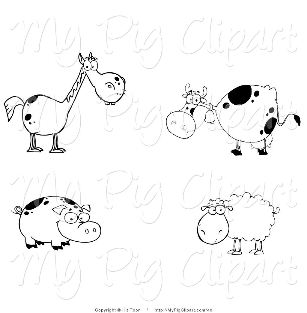 Farm Animal Clipart Black And White & Farm Animal Black And White.