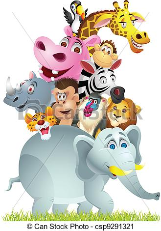 Vector Clip Art of Animal cartoon group csp9291321.