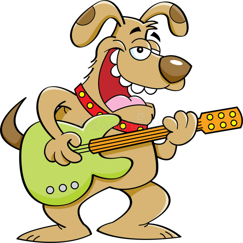 Dog Playing Guitar Clipart.