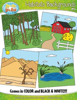 Animal Habitats Background Scenes Clipart {Zip.