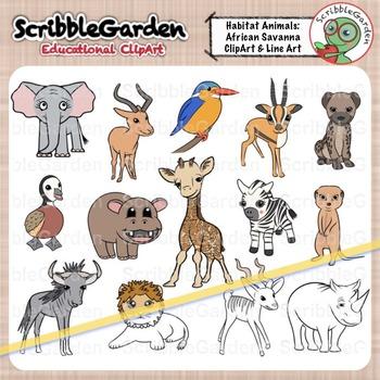 Habitat Animals: African Savanna ClipArt.