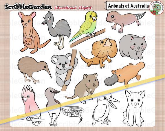 Habitat Animals of Australia ClipArt.