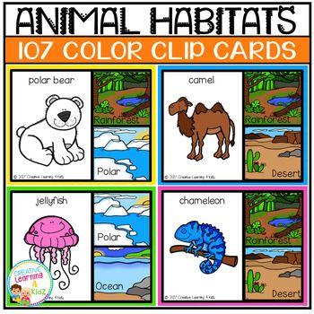 Animal Habitats Clip Cards.