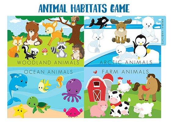 ANIMAL HABITATS File Folder Game Printable.