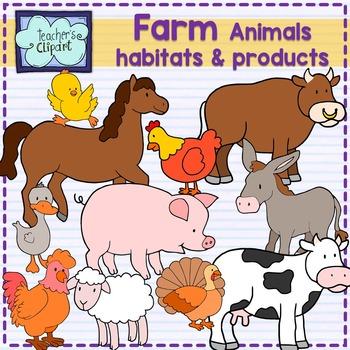 Farm animals, habitats and products clip art {SCIENCE CLIP ART}.