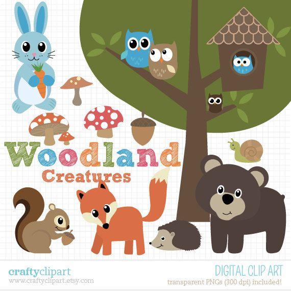 Woodland Animals Clipart, Owl, Rabbit, Squirrel, Fox, Bear.