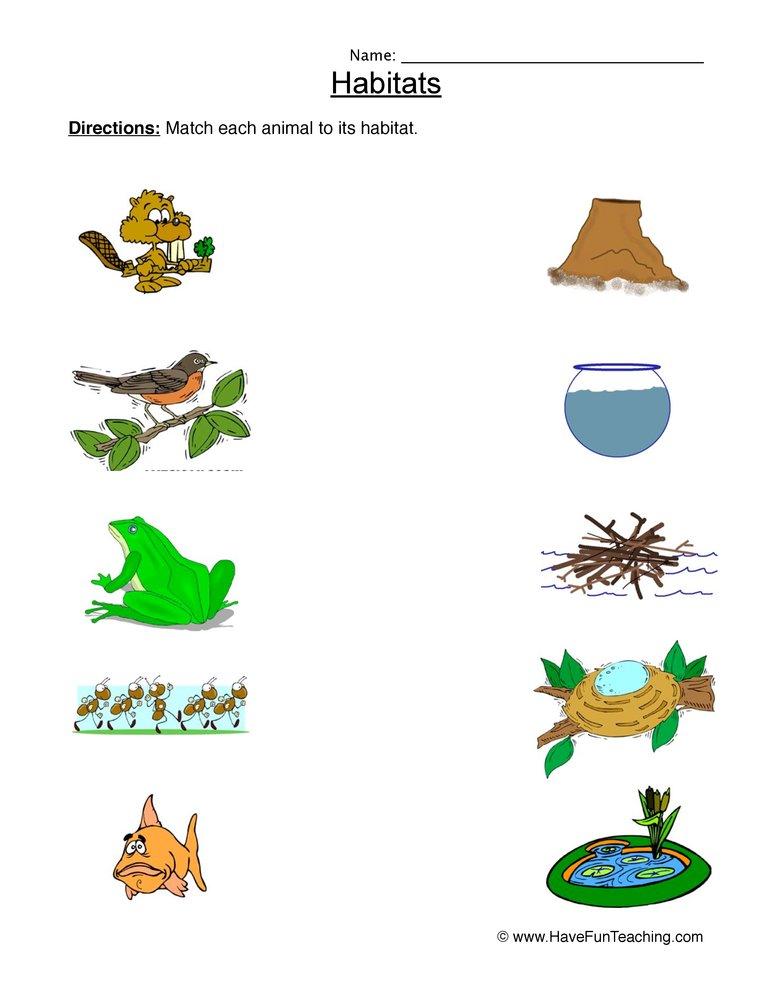 Animal Habitats Matching Worksheet.