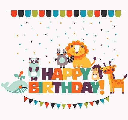 Happy birthday\' lovely vector card with cute animals and.