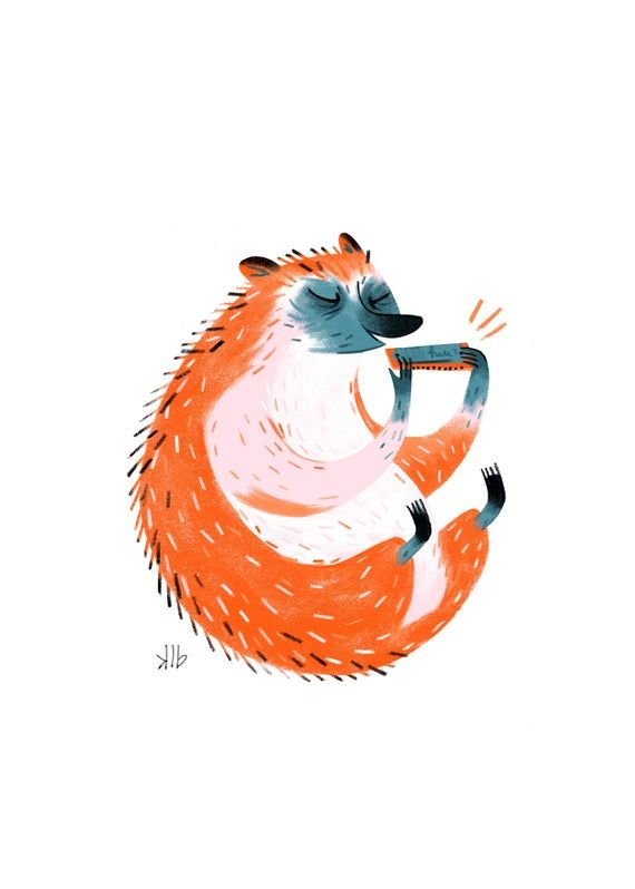 8x10 Hedgehog Playing Harmonica Art Print.