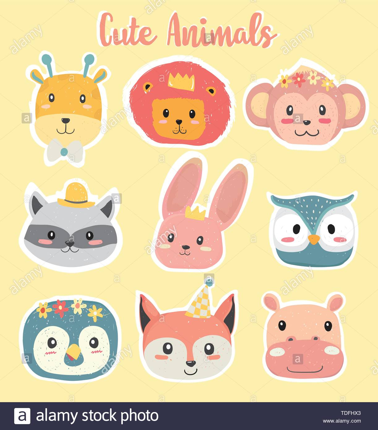 cute hand drawing animal head clipart icon in pastel color.