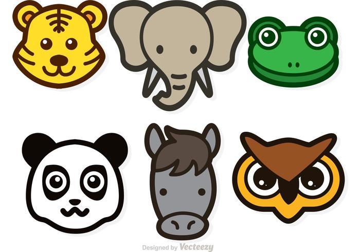 Animal Head Vector Icons.