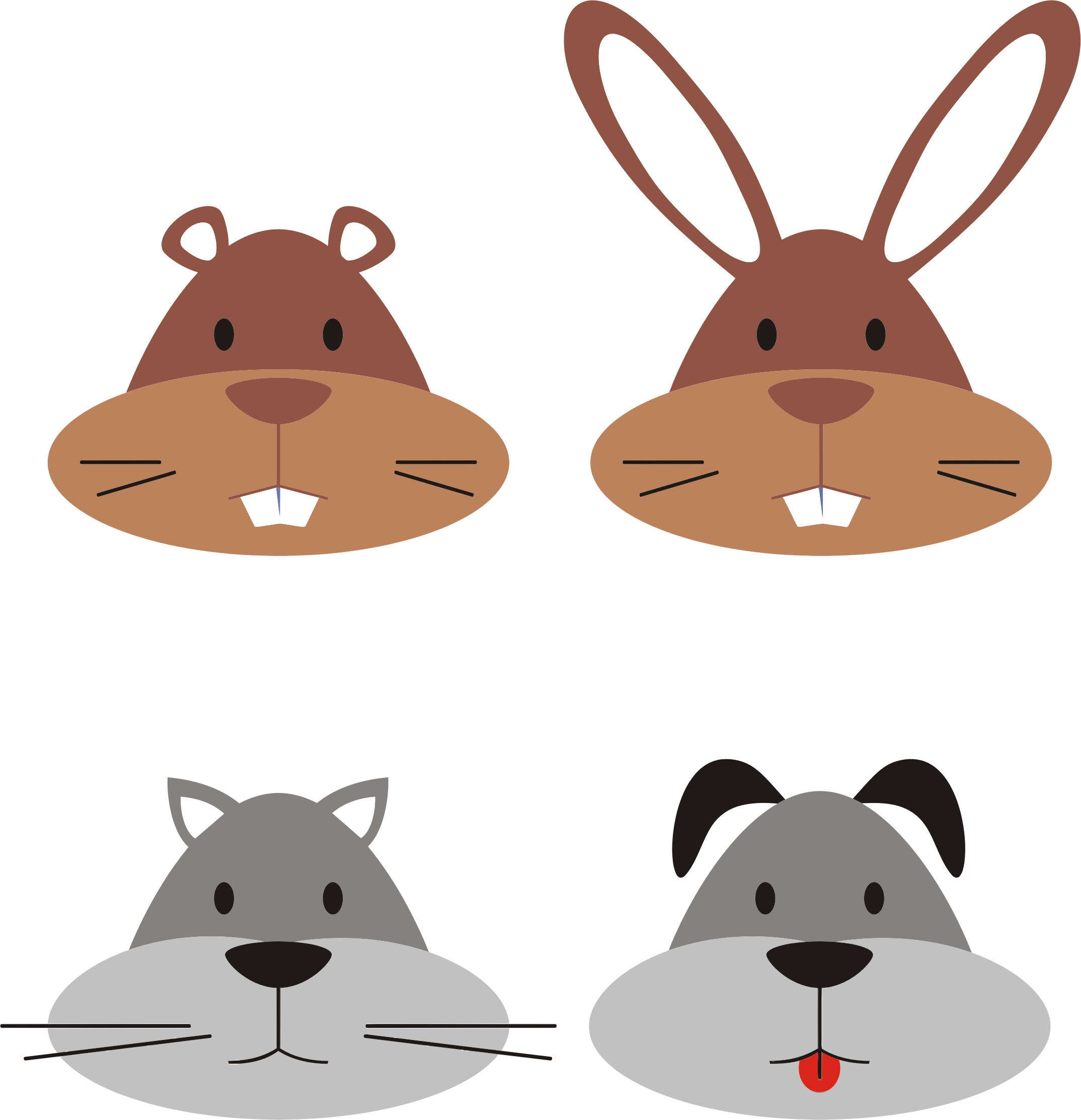 animal heads clipart clipground