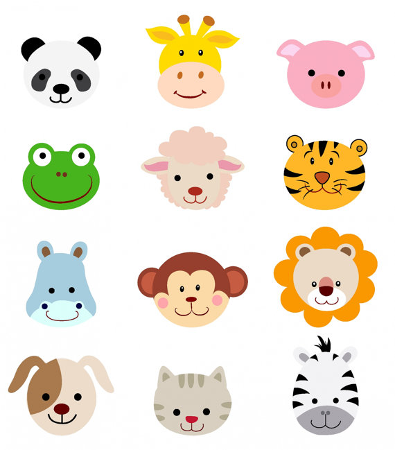 Separately PNG's+vector file! No.93 cartoon animals head faces.
