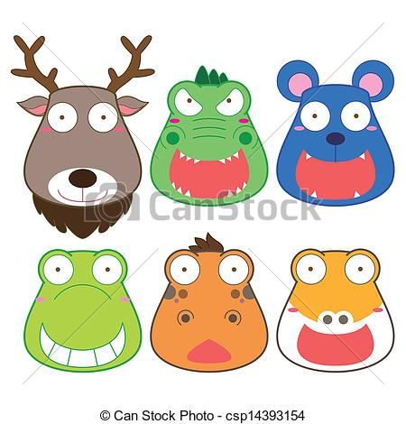 Clipart Vector of cartoon animal head set, vector. csp14393154.