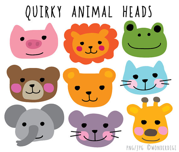 Kawaii Clipart Animal Face Clip Animal Heads Clip Art.