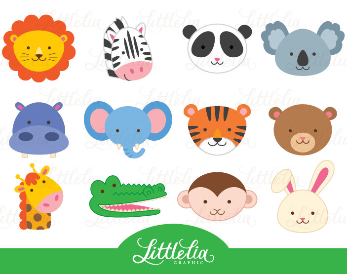 Jungle animal head clipart jungle animal by LittleLiaGraphic.